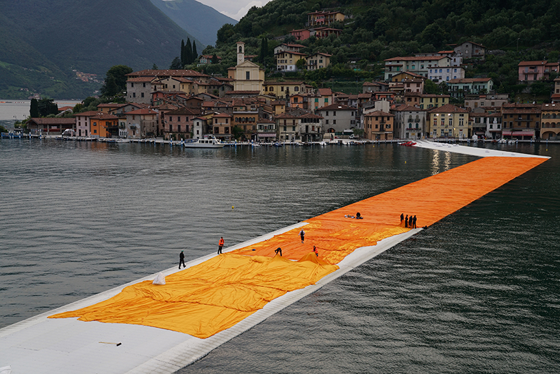 christo floating piers open to the public in lake iseo italy designboom 109